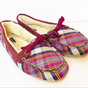 Women's Sperry Plaid Fur Lined Slippers size 10